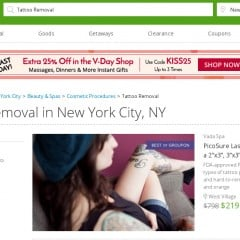 Get rid of your unwanted, embarrassing tattoo cheaply with Groupon
